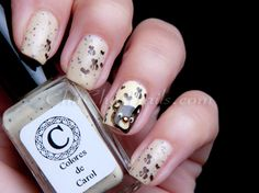 Colores de Carol - Nude With bear stamping nail art from Bundle Monster plate.