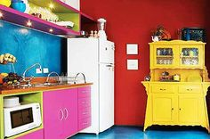 Bright Crazy Colored Kitchen at Awesome Colorful Kitchen Design Ideas