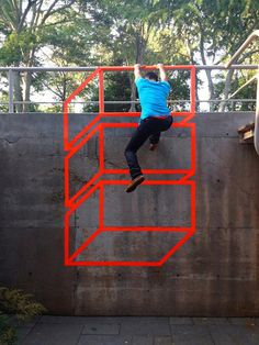 The Amazing Optical Illusion Street Art Of AakashNihalani  Nihalani uses only paper tape and, occasionally, cardboard.