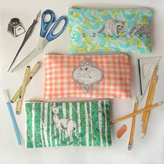 Fox, Deer and Raccoon Pencil Cases by GoldandGinger on Etsy Higher Design, Ink Illustrations, Ontario, Hand Sewing, Cool Stuff, Stuff To Buy, Pencil Cases, Artisan, Fabric