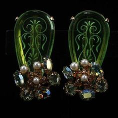 141. Schreiner Green Etched Crystal Jeweled Clip Earrings with Faux Pearls... Lot 141