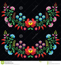 Hungarian Floral Folk Pattern - Kalocsai Embroidery With Flowers And Paprika Stock Illustration - Image: 53024163