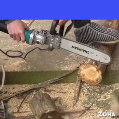 Are you tired of stubborn gasoline chainsaws? Or don't want to invest in an expensive machine? Now rely on Rigal's innovative SawPro™ Chainsaw Attachment which will turn your angle grinder into a powe Homemade Tools, Diy Tools, Welding Tools, Electric Chainsaw, Wood Carving Tools, Construction Tools, Garage Tools, Angle Grinder, Spring Steel