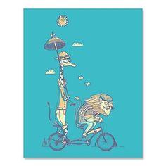 Lion and Giraffe Tandem Bicycle Art Print Beautiful Vintage Dapper Animal Bike Poster Cute Romantic Sunday Stroll Illustration Home Decor 8 x 10 Inches