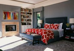 blue-greys + white + red + built-ins + contemporary art