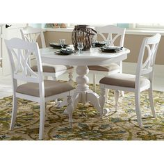 Shop a great selection of Liberty Furniture Summer House I 5 Piece Round Dining Set White. Find new offer and Similar products for Liberty Furniture Summer House I 5 Piece Round Dining Set White. White Kitchen Table Set, Round Dining Room Sets, Round Pedestal Dining Table, Round Table And Chairs, Dining Table Design, Dining Table In Kitchen, Dining Tables, Coastal Dining Room Sets, Round Kitchen Tables