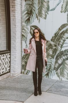 love this blush pink winter coat wool look coats are my fave love how classy they look w/ every outfit. a pretty statement coat Winter Outfits 2019, Winter Coat Outfits, Warm Outfits, Classic Outfits, Spring Outfits, Casual Outfits, Pink Winter Coat, Pink Wool Coat, Wool Coats
