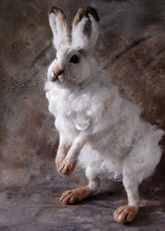 needle felted snow hare.