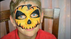 Easy Pumpkin Skull Face Paint / Makeup - YouTube
