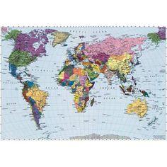 Komar 4-050 Dünya Haritası Poster Duvar Kağıdı