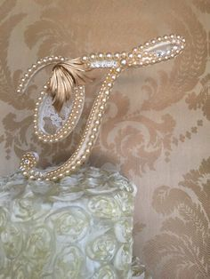 custom pearl monogram cake topper with lace by TheCrystalFlower