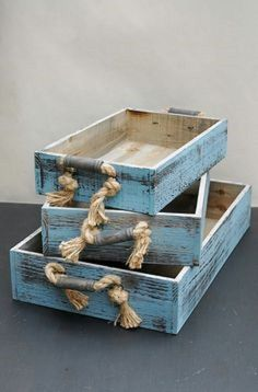 Rustic wooden crate set Comes complete with 3 pieces Great rustic look home decor item Perfect gift idea Colour: Duck egg blue