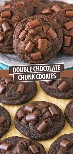 These Double Chocolate Chunk Cookies are dense and chewy, and full of chocolate! Perfect for getting your chocolate fix! Cheesecake Desserts, Just Desserts, Delicious Desserts, Diabetic Desserts, Cheesecake Bites, Healthy Dessert Recipes, No Bake Desserts, Diabetic Recipes, Chocolate Chunk Cookie Recipe
