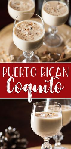 Puerto Rican Coquito Not the biggest fan of eggnog? Give it's tropical Puerto Rican cousin a try – coconut-based Coquito is rich, creamy, full of rum, and ready for any holiday party! Coquito Drink, Eggnog Drinks, Cocktails, Cocktail Drinks, Fun Drinks, Yummy Drinks, Cocktail Recipes, Beverages, Drink Recipes