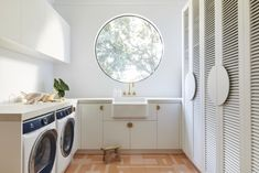 Three Birds Renovations: laundry design essentials - The Interiors Addict Laundry Shelves, Three Birds Renovations, Washing Machine And Dryer, White Building, Rest And Relaxation, Laundry Room Design, Laundry Rooms, Wet Rooms, White Houses