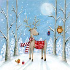Ileana Oakley - Christmas Reindeer Robin Owl Snow Moon