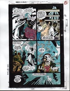 1993 Moon Knight 50 Marvel comic book color guide colorist production art page 9. See 100's more rare vintage original comic book artwork pages and 1960's, 1970's, and 1980's Marvel Universe & DC Comics superhero posters at SUPERVATOR.COM