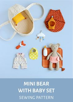 Small Sewing Projects, Sewing For Kids, Baby Sewing, Doll Crafts, Diy Doll, Sewing Crafts, Doll Sewing Patterns, Sewing Dolls, Bear Doll
