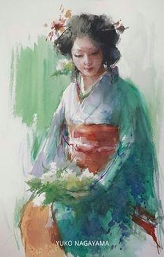 Watercolor Face, Watercolor Portraits, Watercolor Paintings, Geisha Kunst, Geisha Art, Japanese Art Modern, Japanese Artists, Art Inspiration Drawing, Art Journal Inspiration