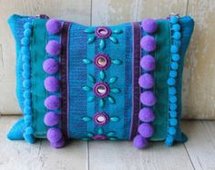 Turquoise and Purple floral ethnic embellished clutch bag with silver chain strap Turquoise Cottage, Turquoise And Purple, Cushion Covers, Pillow Covers, Embellished Clutch Bags, Bag Sewing, Sewing Pillows, Boho Bags, How To Make Pillows