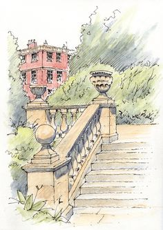 Newby Hall an 18th-century country house Nr Ripon in North Yorkshire ~ sketch ~ John Edwards