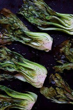 Roasted Bok Choy - Chasing The Seasons Roasted Bok Choy, Roasted Cabbage, Vegetable Salad, Vegetable Dishes, Vegetable Recipes, Boy Choy Recipes, Vegan Recipes, Cooking Recipes, Whole30 Recipes