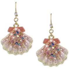 Betsey Johnson Gold-Tone Beaded Shell Drop Earrings ($40) ❤ liked on Polyvore featuring jewelry, earrings, betsey johnson, shell earrings, multicolor earrings, seashell earrings, colorful earrings and multi color earrings
