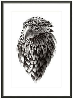 Ornate Black and White Rendered Drawing of Tribal by sassanfilsoof, $20.00