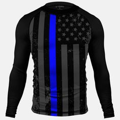 667c69d68220c Tactical Thin Blue Line USA Flag Compression Long Sleeve Jersey