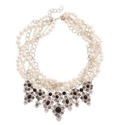 PEARL CHAIN BRAIDED BIB NECKLACE Reference:  A02161008