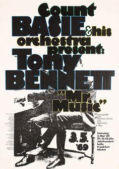 ♥ Kieser, Günther 1930 -. Count Basie - Tony Bennett. Offset 1969. Size: 33 x 23.2 in. (84 x 59 cm). Printer: no information.