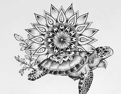 Turtle mandala tattoo commission on Behance - tattoos shoulder tattoos meaning tattoos band tattoos leg Mandala Tattoo Design, Dotwork Tattoo Mandala, Lotus Tattoo, Animal Mandala Tattoo, Ocean Tattoos, Body Art Tattoos, Small Tattoos, Thigh Tattoos, Henna Tattoos