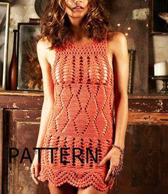 $4.57 Pattern tunic sleeveless dress summer sexy lace shirt spring top crochet pdf sarafan 1