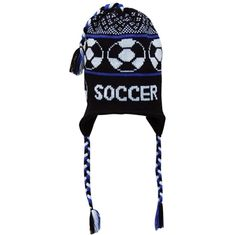 Fleece Lined Knit SOCCER Hat Black/Blue Want!!