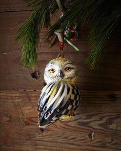 H6VSB MacKenzie-Childs Courtly Check Snowy Owl Christmas Ornament