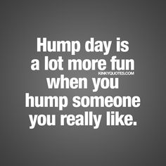 Hump day is a lot more fun when you hump someone you really like. :) | #humpday Hump Day Quotes, Hump Day Humor, Morning Quotes, Kinky Quotes, Sex Quotes, Life Quotes, Flirty Quotes For Him, Love Quotes For Him, Relationship Questions