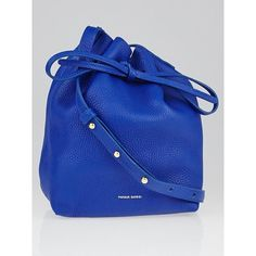 Pre-owned Mansur Gavriel Royal Tumble Leather Mini Mini Bucket Bag ($435) ❤ liked on Polyvore featuring bags, handbags, shoulder bags, leather shoulder handbags, leather shoulder bag, blue handbags, genuine leather purse and mini handbags