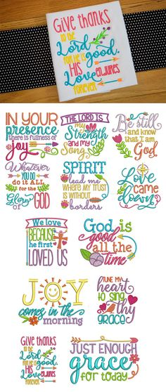12 beautiful, inspiring Christian sayings in 4 sizes each. Wonderful for a wide variety of projects! and Designs by JuJu Exclusive Embroidery Store, Embroidery Monogram, Machine Embroidery Patterns, Embroidery Applique, Floral Embroidery, Quilt Patterns, Towel Embroidery, Embroidery Alphabet, Applique Patterns