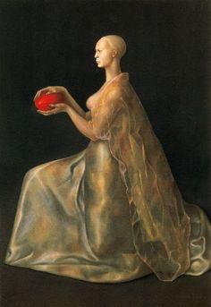 Leonor Fini - La gardienne à l'oeuf rouge - Huile sur toile - Oil on canvas - 1955