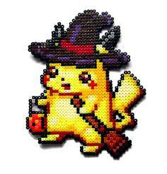 Halloween Pikachu Pokemon perler bead sprite by AenysBeadArt Melty Bead Patterns, Pearler Bead Patterns, Perler Patterns, Pokemon Go, Pikachu, Pokemon Sprites, Nintendo Pokemon, Hama Beads Mario, Hama Beads Pokemon