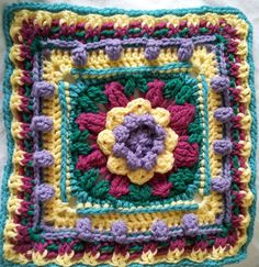 """Lovies for the Little Ones: Jennie's Basket of Flowers: A Free 12"""" Afghan Square Pattern"""