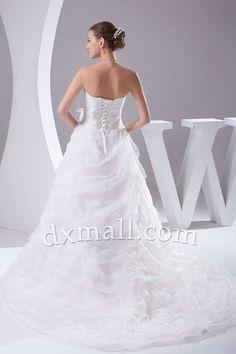 Pick Up Wedding Dresses Sweetheart Court Train Organza Satin White 010010900259