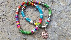 Beaded Bracelets TWO Rainbow Wooden /Sterling by GemsJewelsGirls