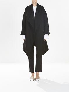wool wide lapel belted coat / black