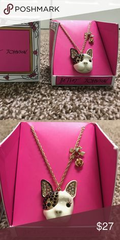 """NIB Betsey Johnson French Bulldog Necklace New, NIB Betsey Johnson Gold Tone Necklace  ----Very Cute!  New in Box  16"""" chain plus 3"""" Bulldog  Drop 1-1/2""""  French bull dog   Bow and crystal Betsey Johnson Jewelry Necklaces"""