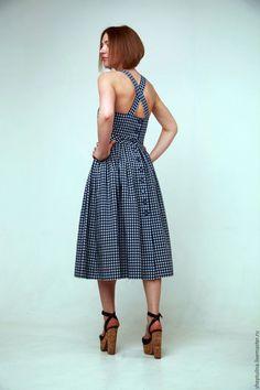 Купить Сарафан хлопок D&G - тёмно-синий, в клеточку, платье ретро, летний сарафан #summerdresses