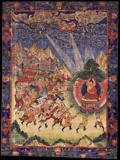 Shakyamuni Buddha and Mara. Buryatia, 19th century, © Rubin Museum of Art. In the moments leading up to his enlightenment under the Bodhi Tree, the Buddha was attacked by the armies of Mara. Their armaments were transformed into flowers, which then showered him like offerings.