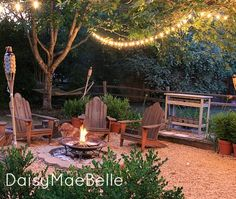 Beautiful backyard! Love how the firepit is encircled by pavers. via DaisyMaeBelle