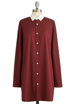 Don't You Look Dapper? Dress. Friends and coworkers extol your smart, modern demeanor, thanks to garments like this burgundy shirt dress. #red #modcloth