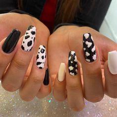 Drip Nails, Acrylic Nails, Cow Nails, Flower Nails, Cow Print, Nail Inspo, Nails Inspiration, Pretty Nails, Hair And Nails